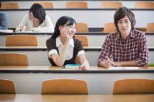 Japanese students in a lecture theatre. iStockalypse Japan 2010.
